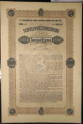 Steiermärkisches Investitions-Anlehen, 1000 Kronen, 1921