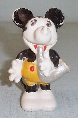 Vintage Bisque Porcelain Mickey Mouse w/ Musical Horn Figurine Leather Tail