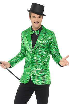 Mens 1920s Outfit (Sequin Jacket Mens Green Adult 1920s Cabaret Fancy Dress)
