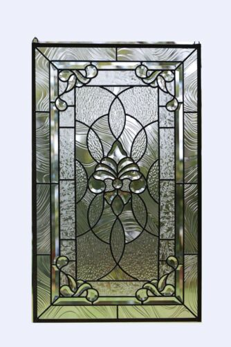 "20"" x 33.75""  Stunning Handcrafted All Clear stained glass Beveled window panel"