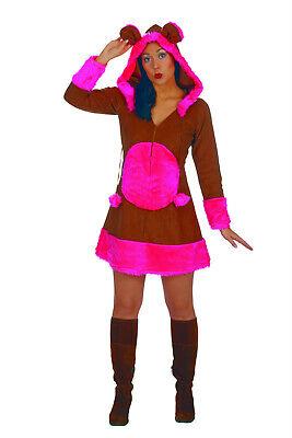 Bärchenkostüm Damen braunes Kleid m Kapuze Bär Monster - Bärchen Kostüme