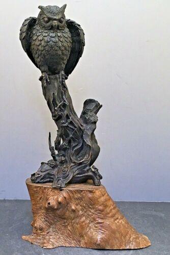 Japanese Meiji Tokyo School Bronze Okimono - Owl