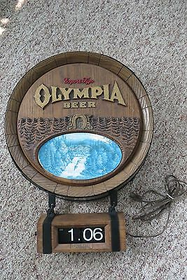 Olympia Beer faux barrel advertising sign; digital electric clock, waterfall