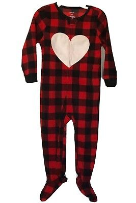 Carters Fleece Blanket Sleeper Size 2T Plaid Heart Footed Pajamas NWT Heart Blanket Sleeper