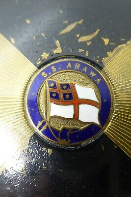 VINTAGE SS ARAWA STRATTON COMPACT STEAM SHIP SHIPPING LINER ENAMEL BADGE