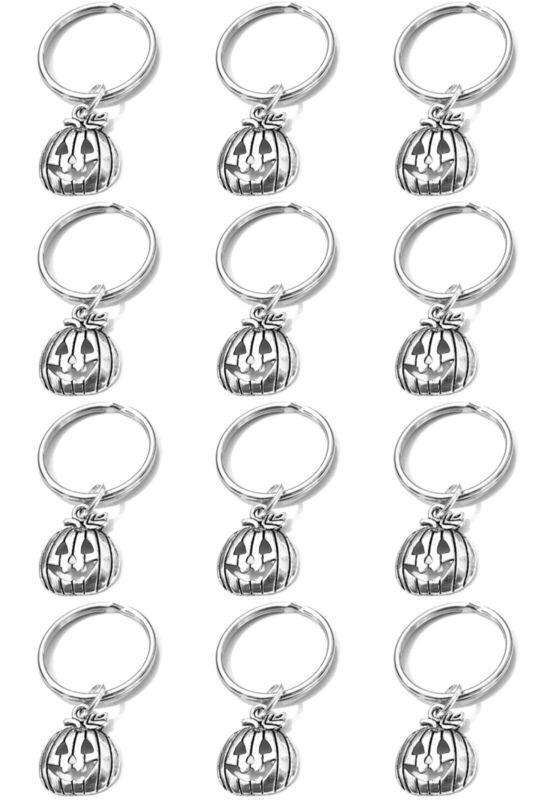 X12 Jack-o-lantern Pumpkin Keyrings Keychains Bulk Lot Dozen Halloween Favors
