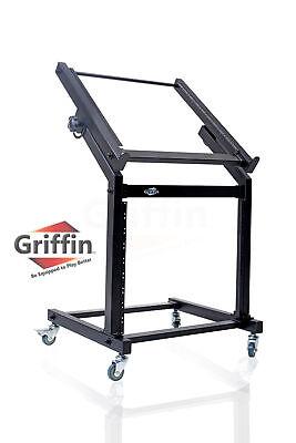 Steel Studio Rack - Rolling Rack Mount Stand – Music Studio Equipment Mixer Cart Gear Holder Effects