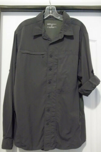 EDDIE BAUER MENS LARGE TALL CHARCOAL NYLON OUTDOOR SHIRT VENTED ROLL TAB SLEEVE