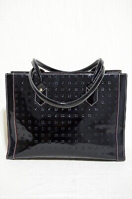 Arcadia Handbag Black Patent Leather Tote Made In Italy
