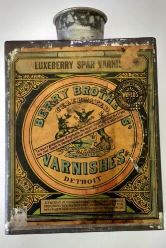 Vintage Berry Brothers Varnish Can 1/4 Gallon Detroit Michigan