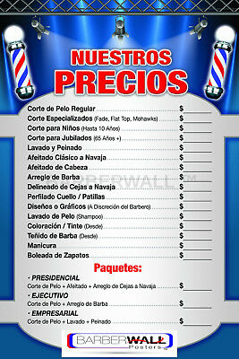 Barber Shop Price List in Spanish by Barberwall®,Barber Poster 24 x 36 Laminated - Posters In Spanish
