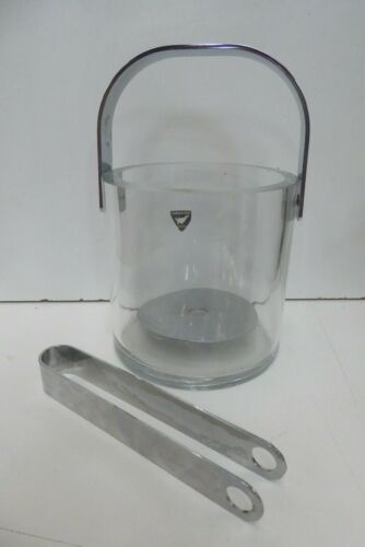 VINTAGE HEAVY GLASS CHROME ORREFORS ICE BUCKET AND TONGS MID CENTURY BAR WARE