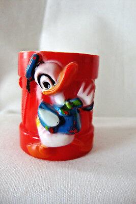 VINTAGE Disney Donald Duck Red Plastic Egg Cup, Jaguar Toys, Hong Kong