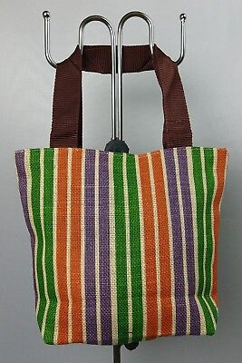 Used, Cute Stripe Sackcloth Shoulder Tote Bag Shopping Beach Travel Handbag Lady Gift for sale  Shipping to Canada