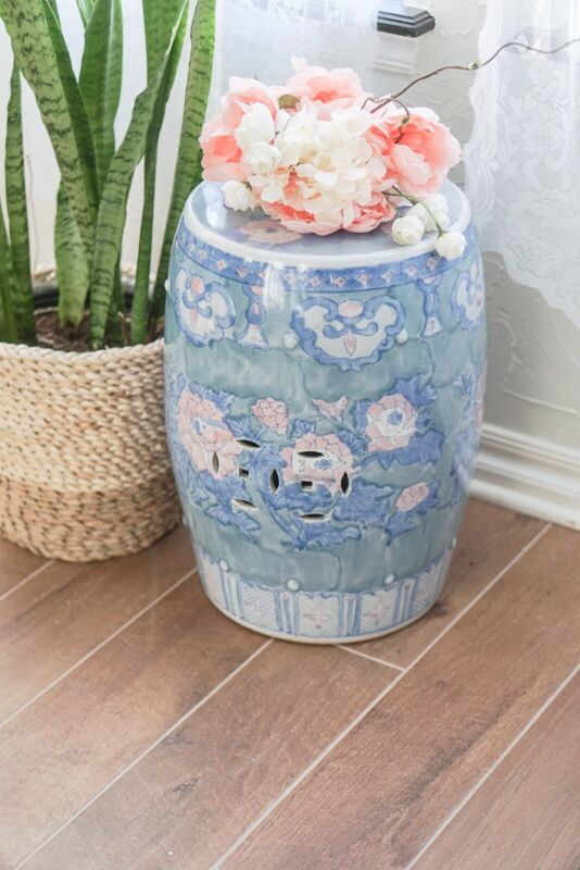 Beautiful Antique Chinese Hand Painted Porcelain Garden Stool Lotus Flower