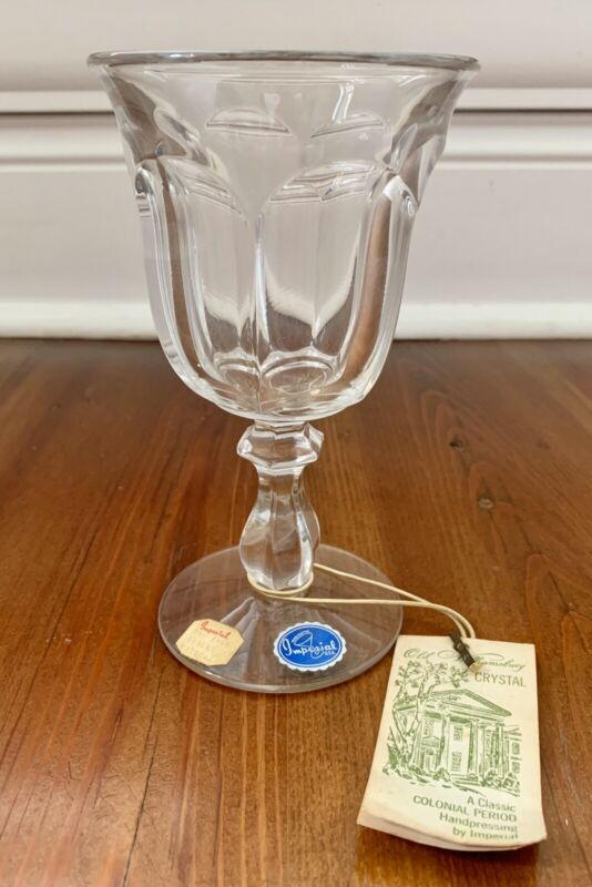 Vintage Crystal Water Goblet Imperial Old Williamsburg Still Has Tag & Stickers
