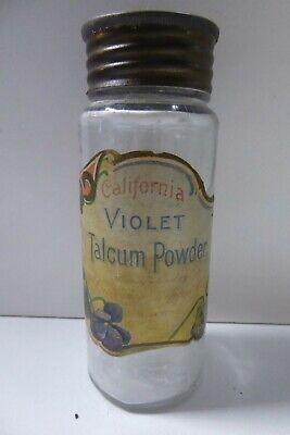 VINTAGE CALIFORNIA VIOLET TALCUM POWDER BOTTLE