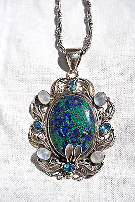 Stunning Navajo Azurite Malachite Sterling Silver  ADAM FIERO  Pendant Necklace