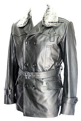 German Submarine Military Style Fur Collar Black Real Leather Coat