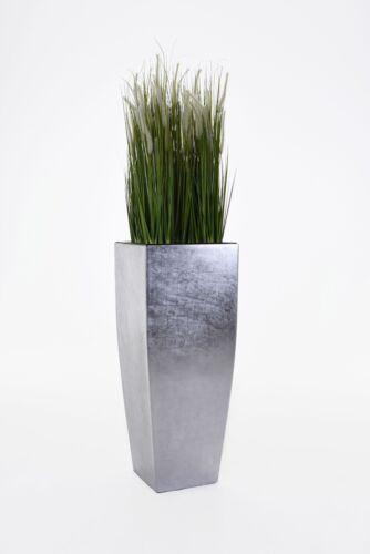 Blumenkübel Fiberglas \'Magnum\' 100cm Silber Hochglanz
