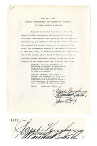 Legendary Jazz Singer Sarah Vaughan Document Signed