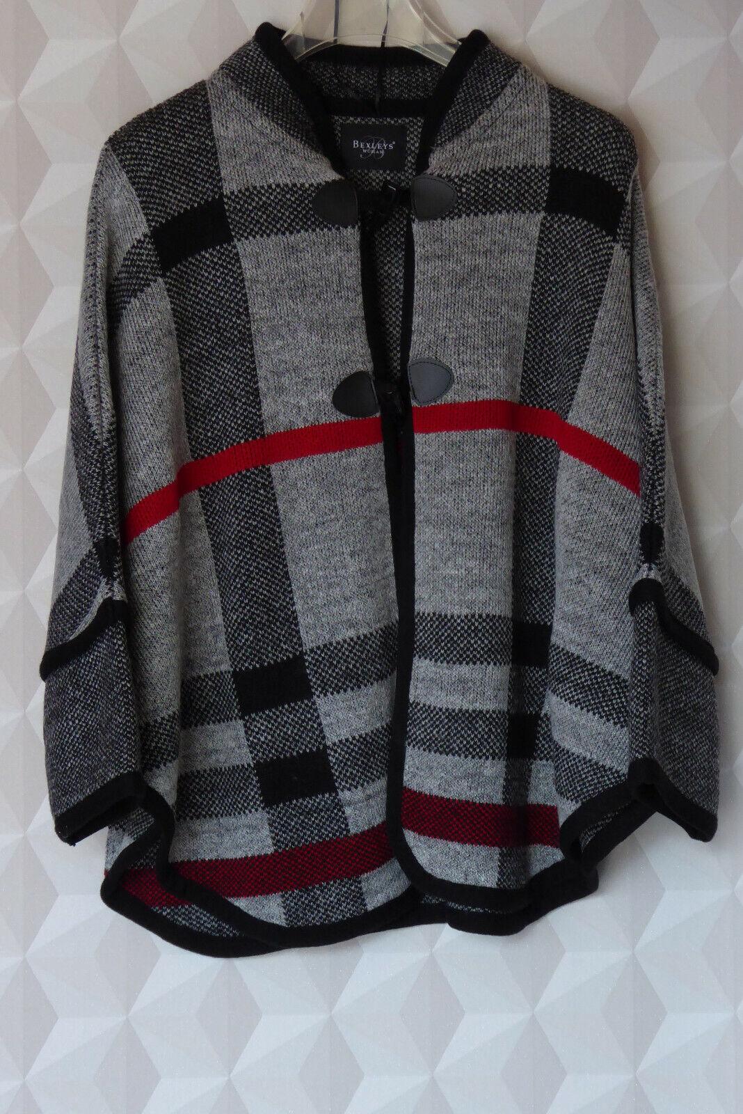 schicke Damen Poncho Strick Jacke, weiß - schwarz - rot, Adler - Bexleys, Gr. XL
