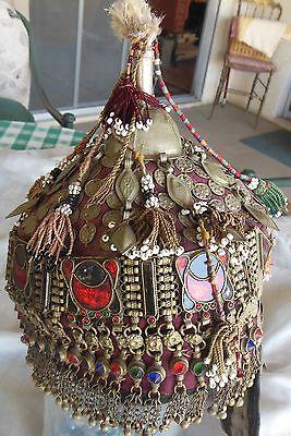 Museum quality Turkmenistan female bridal headdress 1930 traditional ornaments
