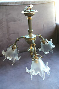 ancien lustre en bronze et tulipe verre empire p riode art d co ebay. Black Bedroom Furniture Sets. Home Design Ideas