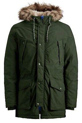 JACK & JONES Faux Fur Explorer Parka Jacket Mens Warm Hooded Padded Winter Coat
