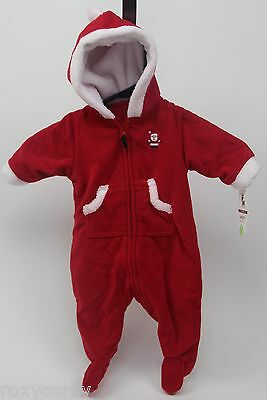 Christmas Carter's Red Baby Santa Suit Pram 1 Piece with Hood Size 3 months NWT