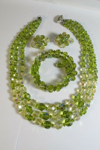 RARE VINTAGE SHERMAN OLIVE GREEN FACETED BEAD 3 STRAND NECKLACE BRACELET EARRING