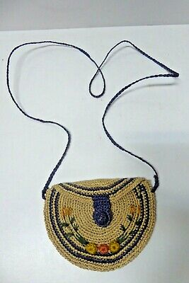 1950s Handbags, Purses, and Evening Bag Styles ORIGINAL VINTAGE MID CENTURY WOVEN SHOULDER HAND BAG 1950s 60s $50.93 AT vintagedancer.com