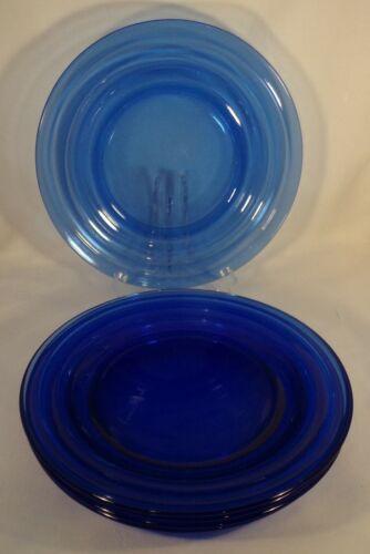 "Vtg Hazel Atlas Moderntone 5 Dinner Plates Cobalt Blue Glass 8 7/8"" Very Nice"