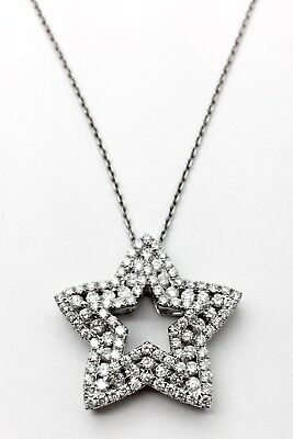 14k White Gold Diamond Star Pendant Necklace 3.65CT VS1 -  G Color - Very Clean