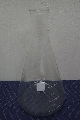 Pyrex 4980 4000ml 4l Glass Graduated Heavy Duty Rim Erlenmeyer Flask