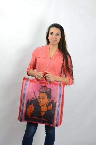 Frida Kahlo Mexican Mesh Market Tote Red Reusable Grocer Recycled Bag Kitchen