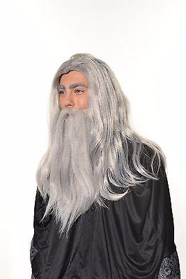 Halloween  Dumbledore Gandalf Wizard Old Man Wig & Beard Set Hobbit H0554 - Wig Set