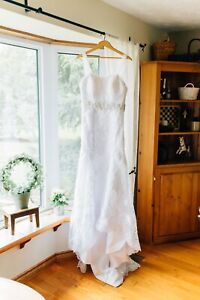 White wedding dress with appliqué (small)