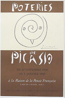 """PABLO PICASSO vintage mounted poster print, Poteries 1948, owl, 16 x 12"""" PP03"""