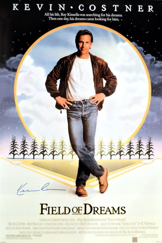 Kevin Costner Autographed Field Of Dreams 24x36 Movie Poster ASI Proof