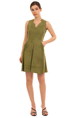 RRP €590 DESA COLLECTION Suede Leather A-Line Dress Size 38 / M Sleeveless