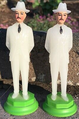 1950s Mens Suits & Sport Coats | 50s Suits & Blazers Lot: 2 Vintage 1950s? Hard Plastic GLOW IN THE DARK Men in Suits Hats CHINA $26.95 AT vintagedancer.com