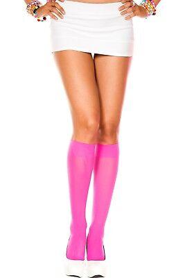 OPAQUE KNEE HIGH School Girl Stockings NEON PINK O/S - Neon Pink Stockings