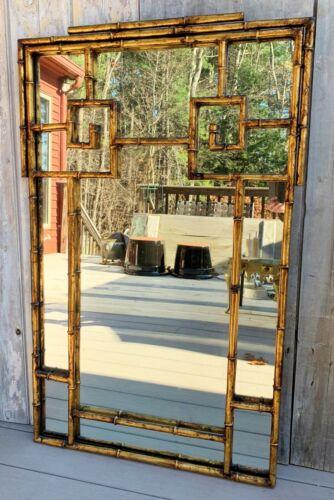 Vintage La Barge Large Italian Japanned Gilt Faux Bamboo Metal Frame Mirror 1970