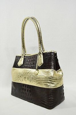 4e4d577687af NWT Brahmin Anytime Tote/Shoulder Bag in Truffle Vineyard. Brown & Gold  Colors,
