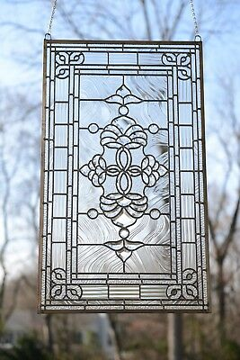 "Stunning Handcrafted stained glass Clear Beveled window panel, 20.5"" x 34.25"""