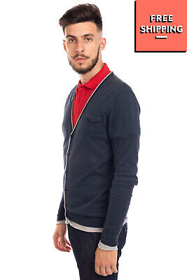 RRP €120 PAOLO PECORA Cardigan Size M Layered Raw Edges Y Neck Made in Italy