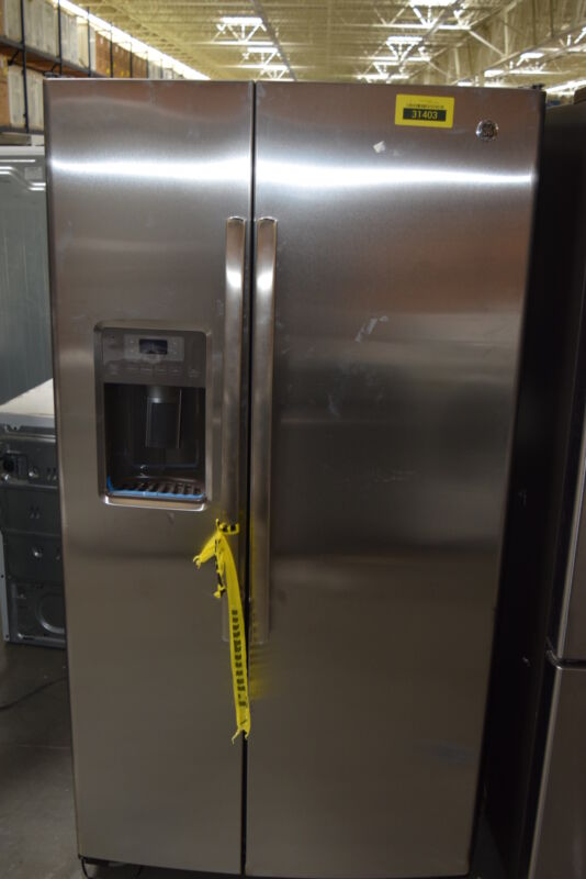 GE 25.4 Cu. Ft. Side-by-Side Refrigerator with Thru-the-Door Ice and Water Stainless Steel GSE25GSHSS