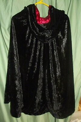 Black Velvet Cloak Cape with Red Satin lining and hood- Size Child's Large  (Red Velvet Cape With Hood)