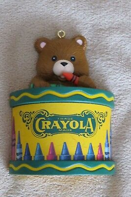 Crayola Coloring Crayons Xmas Ornament Binney & Smith Teddy Bear with Drum 1992